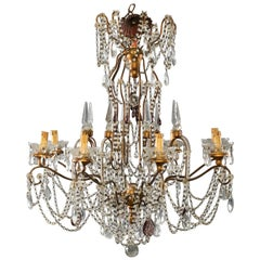 Eight-Light Italian Crystal Chandelier with Giltwood Bobeches