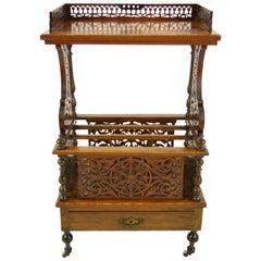 Antique Walnut Canterbury, Victorian Music Stand, What Not, Scotland 1870, B1139