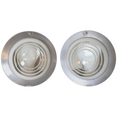 Machine Age Art Deco 20th Century Limited Henry Dreyfuss Fixtures Pair Recessed