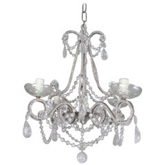Five-Light French Rock Crystal Chandelier, circa 1930s