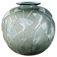 Rare and Large 1930s Daum Smoked Glass Vase, Round, France