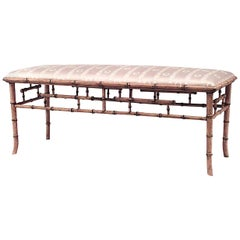 English Regency Style '20th Century' Faux Bamboo Painted Bench