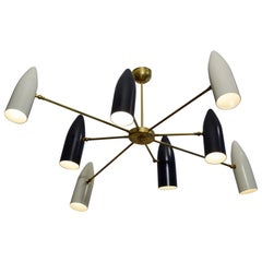 Large Black and White Eight-Arm Metal Midcentury Italian Chandelier