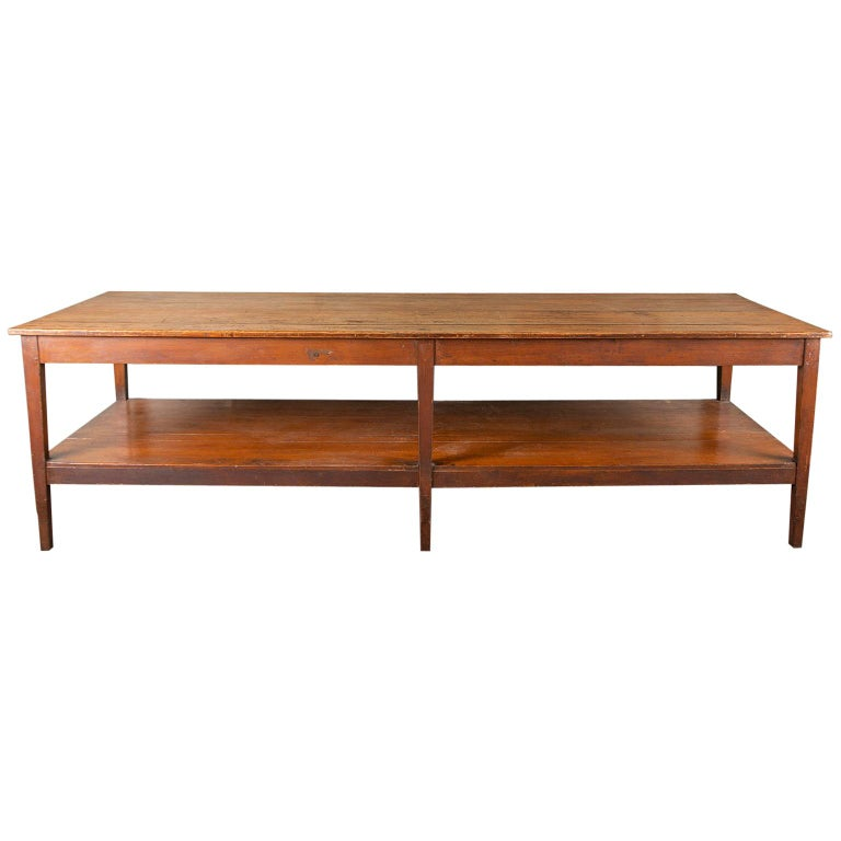 19th Century French Pine Drapers Table with Original Finish