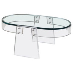 Modern Italian Lucite Glass Coffee Table, circa 1990