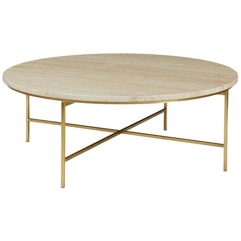 Brass and Travertine Round Coffee Table by Paul McCobb for Calvin Furniture For Sale