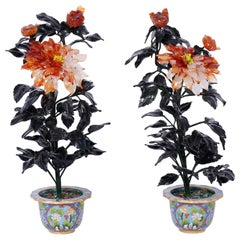 Pair of Chinese Hard Stone and Cloisonné Potted Flower Sculptures