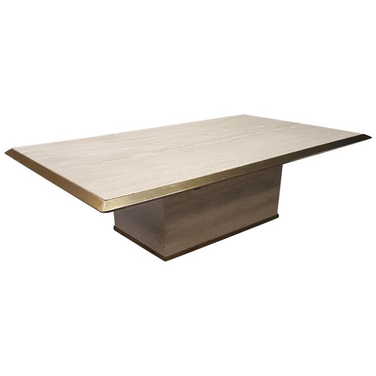 Travertine Gilt Brass Coffee Table, 1970s