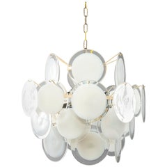 Gino Vistosi Chandelier with White Glass Disk