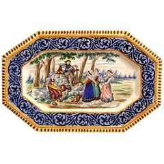 Large 19th Century French Hand-Painted Ceramic Platter from Henriot Quimper
