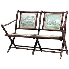 French Victorian Faux Bamboo Campaign Design Folding Loveseat