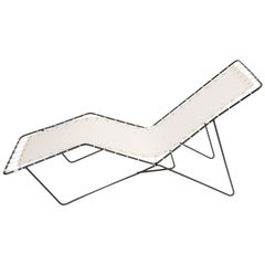 Modern Patio Chaise Longue with Canvas Cover and Wire Frame