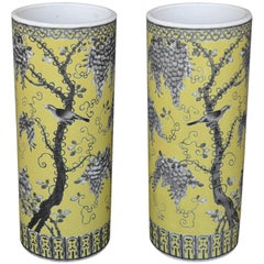 Pair of Dayazhai Yellow-Ground Grisaille-Decorated Vases