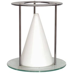 Postmodern Glass and Steel Sculptural Cone Table Lamp