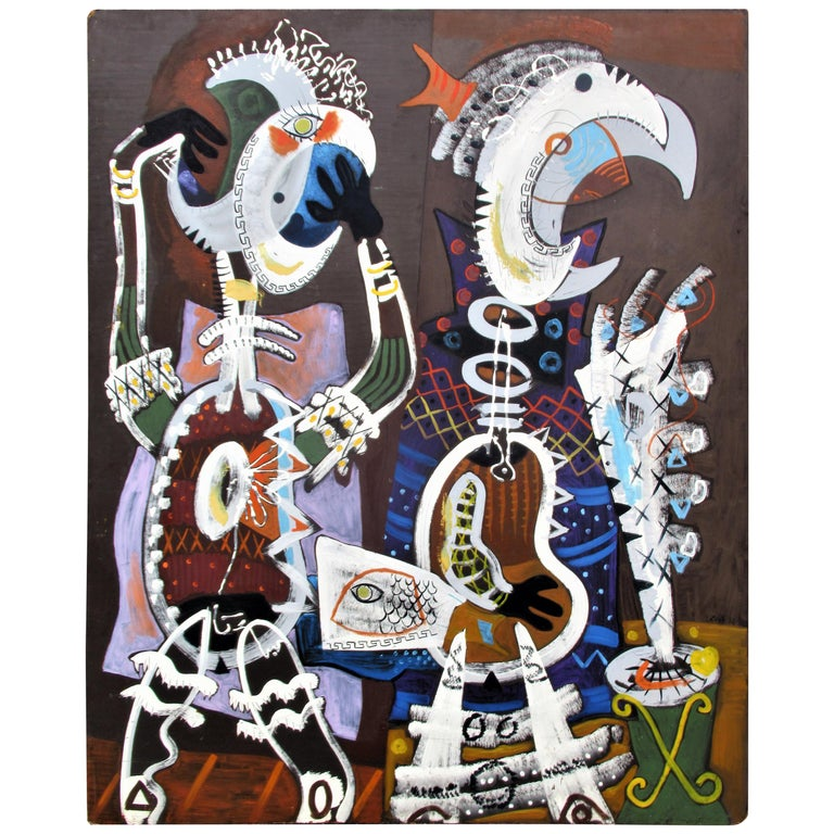 Large Brilliant American Abstract Expressionist Painting by Zoute', 1952