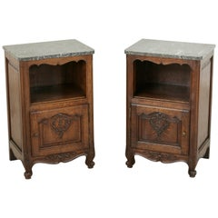 Pair of French Louis XV Style Hand-Carved Oak Nightstands with Marble Top, Niche