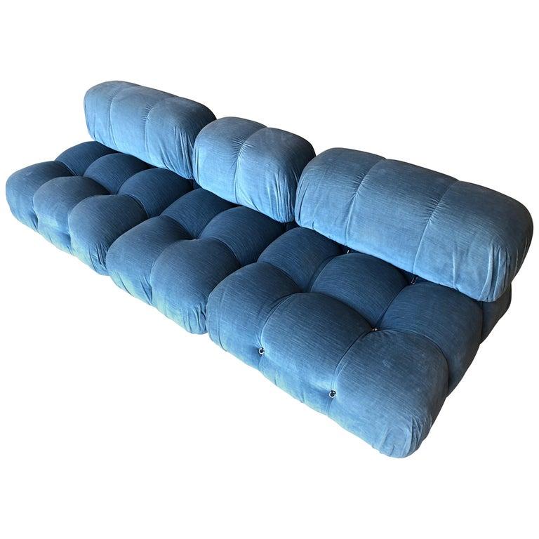 Mario Bellini Light Blue Original Fabric 'Camaleonda' Modular Sofa For Sale