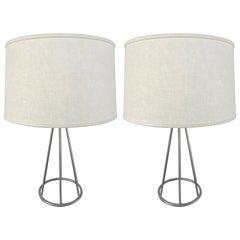 Pair of Postmodern Steel Frame Lamps