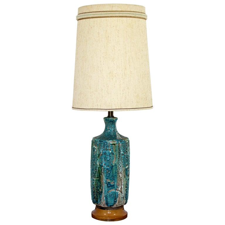 Mid-Century Modern Large Fat Lava Blue Glazed Ceramic Table Lamp, German, 1960s