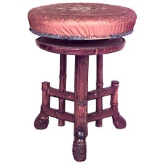 English Victorian Bamboo Swivel Stool