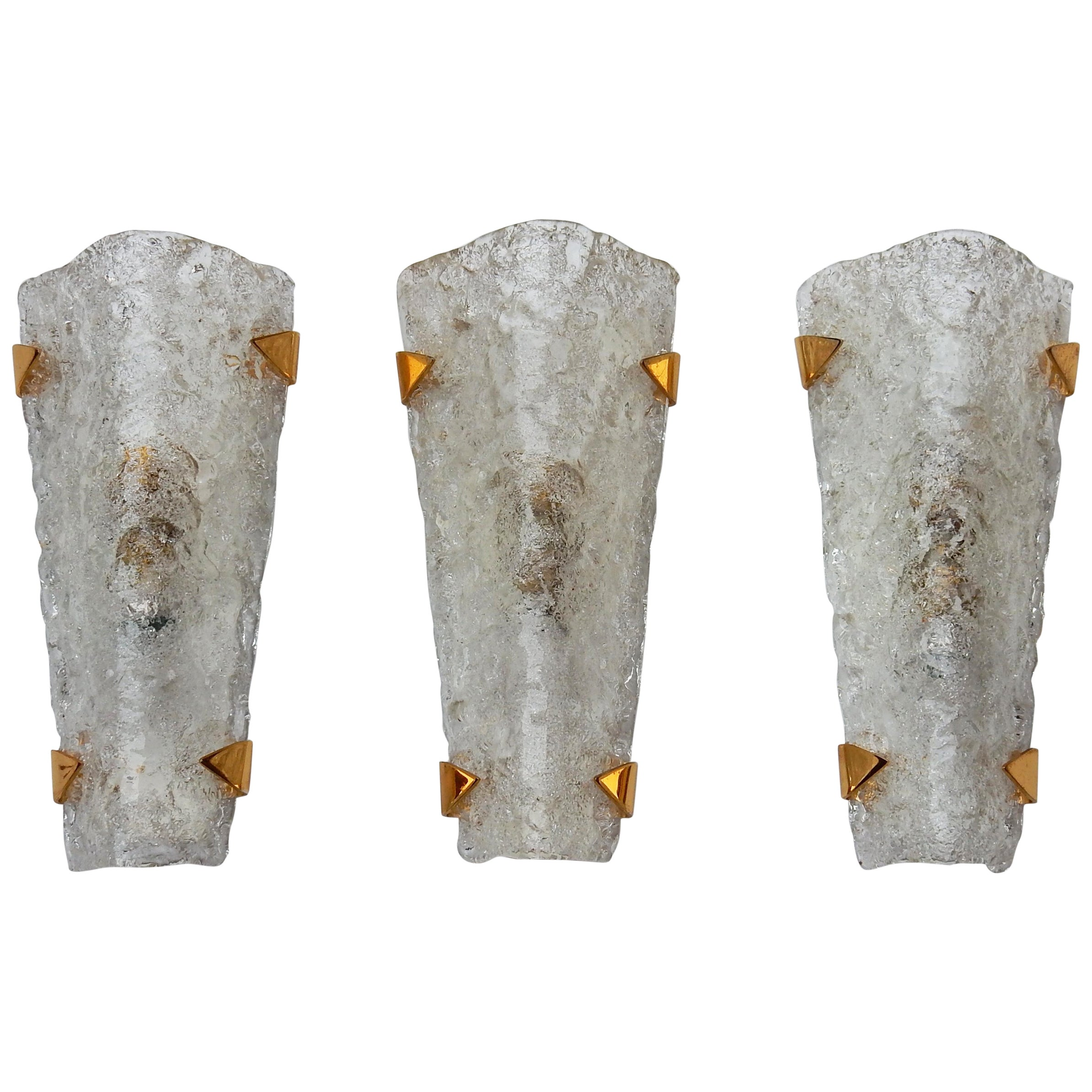 1960s-1970s Three Sconces Murano Glass and Brass Gilded