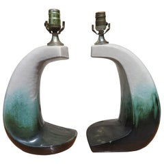 Unusual Rare Form Pair Marcello Fantoni Style Green Drip Glaze Lamps Midcentury
