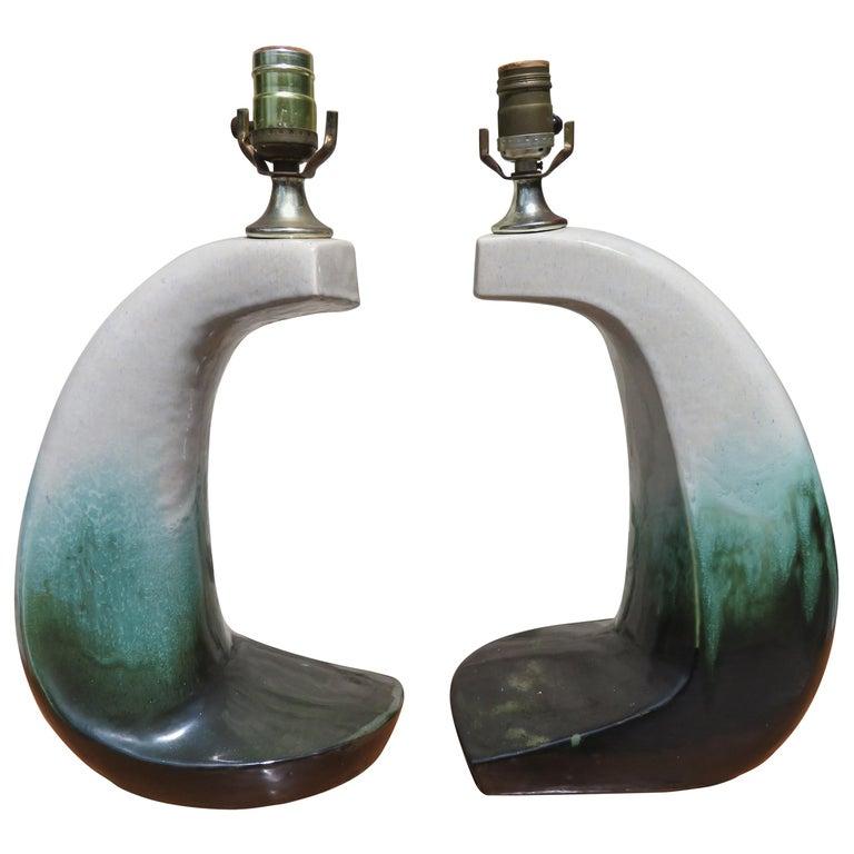 Unusual Rare Form Pair Marcello Fantoni Style Green Drip Glaze Lamps Midcentury