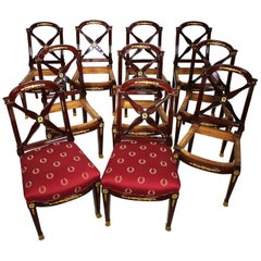 Set of Ten Empire Style Mahogany & Gilt-Bronze Mounted Dining Chairs, Jeanselme