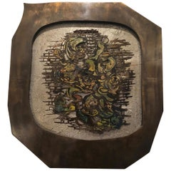 Bronze Sculptural Wall Plaque by Philip Laverne, NYC, 1970s