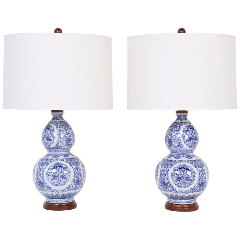 Pair of Blue and White Double Gourd Table Lamps