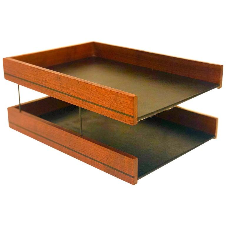 Mid Century Modern American Walnut Modernist Paper Tray