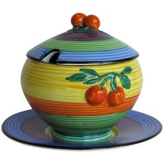 Art Deco Wiltshaw & Robinson Carlton Ware Jam Pot, Lid and Stand, circa 1930