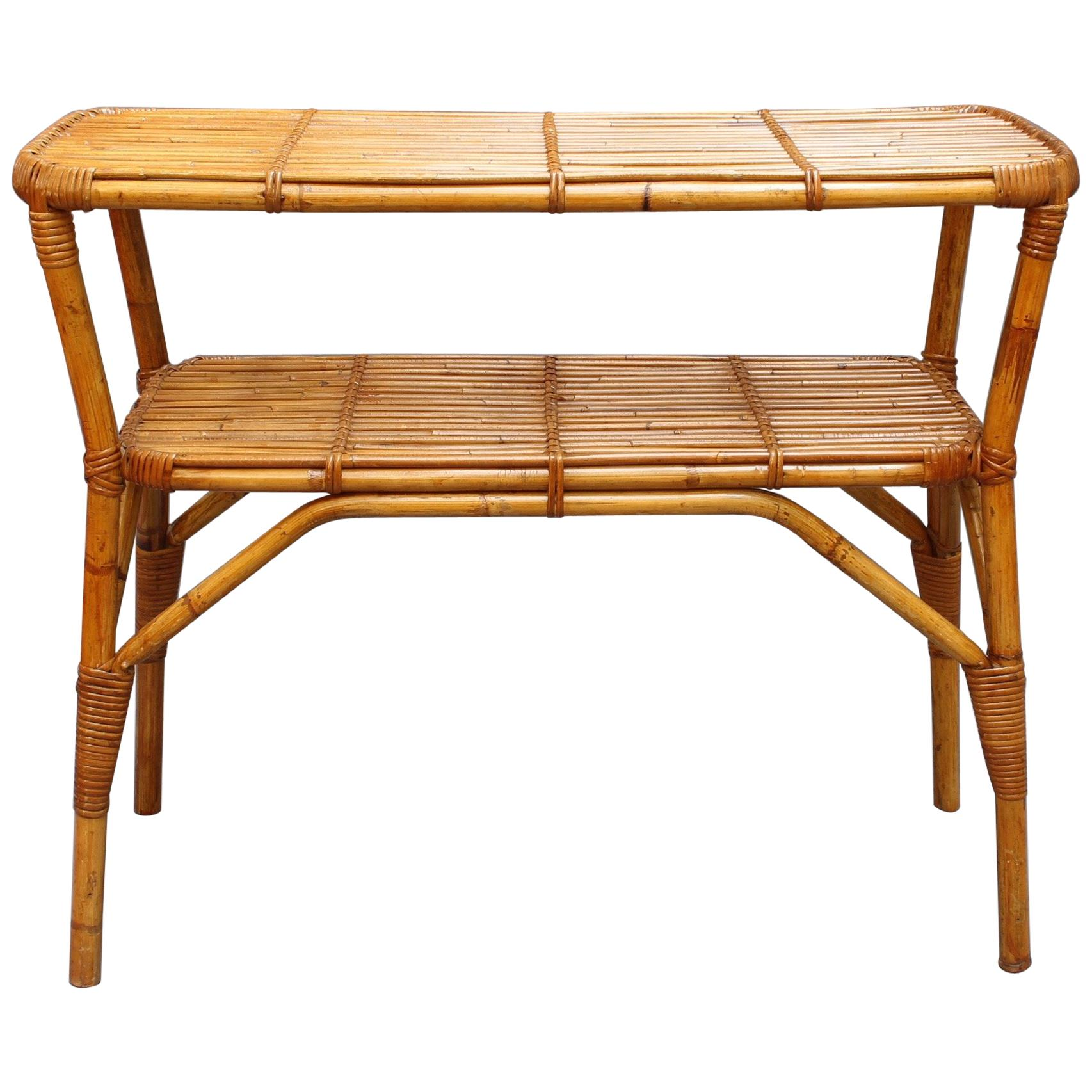 Bamboo And Rattan Console Table, Circa 1960s