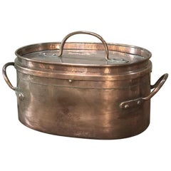 19th Century French Hand-Hammered Copper Roasting Pot
