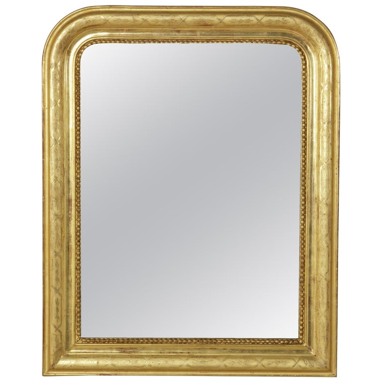 Small-Scale 19th Century French Louis Philippe Period Incised Giltwood Mirror