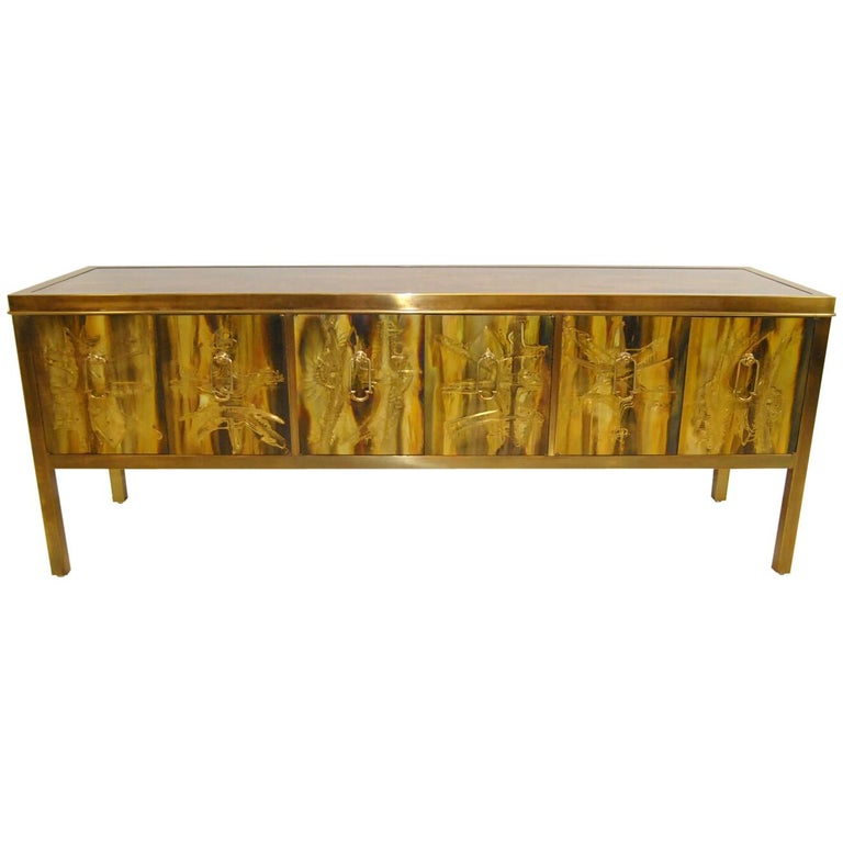 Acid Etched Brass Credenza Sideboard by Bernharad Rohne for Mastercraft