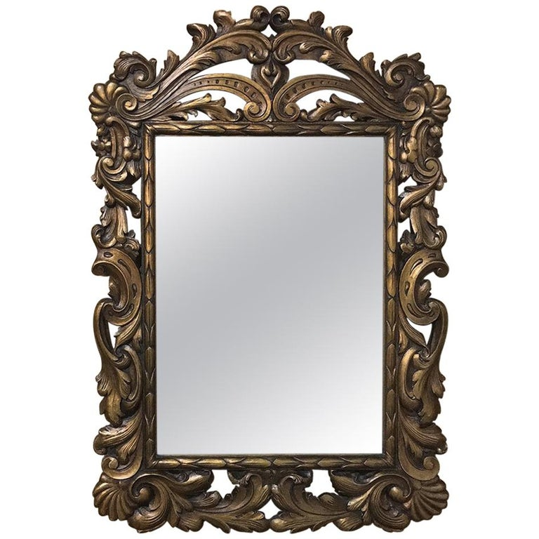 19th Century Hand-Carved Italian Giltwood Baroque Mirror