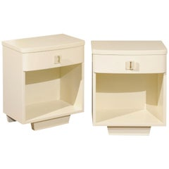 Rare Pair of Modern End Tables with Lucite Hardware by John Stuart, circa 1940