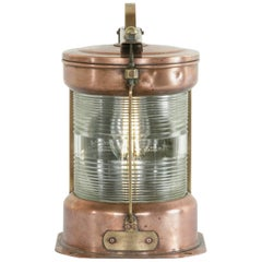 English Copper Marine Lantern with Engraved Brass Masthead Label, Electrified