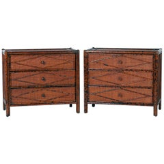 Pair of Grasscloth Faux Bamboo Chests