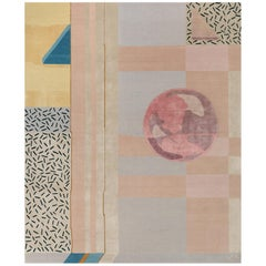 Composition ii, Contemporary Wool and Silk Handmade Fine Rug