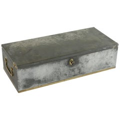 Early 20th Century Steel and Brass Lock Box from the Banco Central in Barcelona