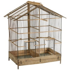 French Artisan Made Oak and Wire Bird Cage with Two Compartments and Divider
