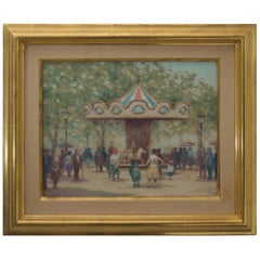 "Oil on Canvas Painting Titled "" Louvre Carousel """