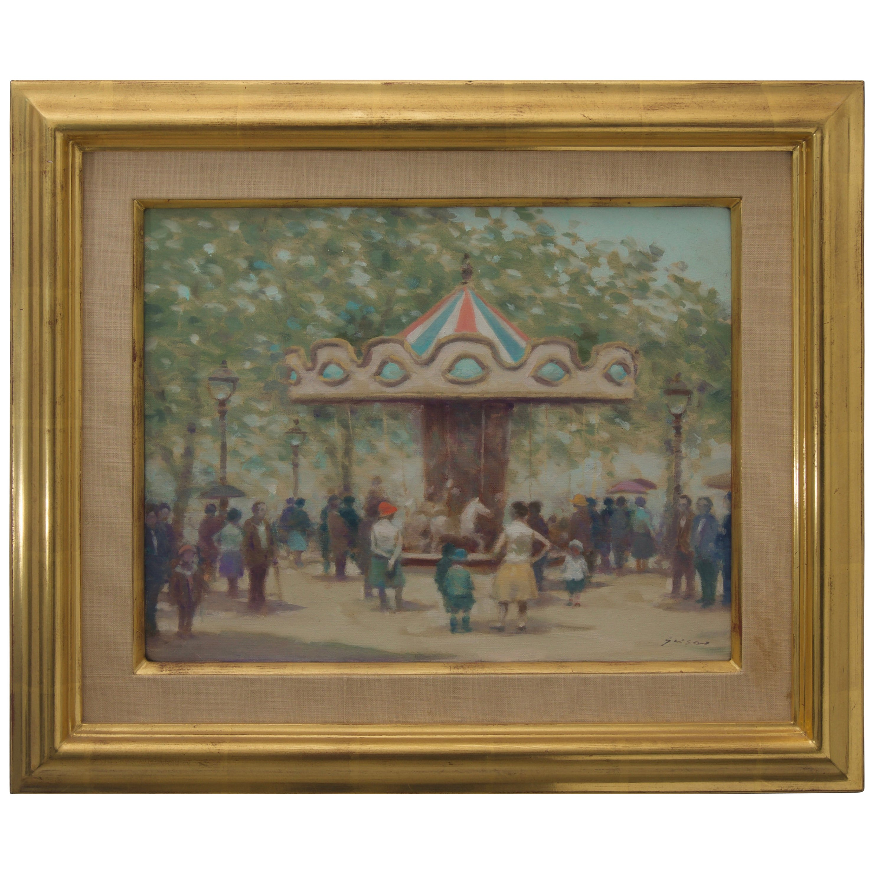 """Oil on Canvas Painting Titled """" Louvre Carousel """""""