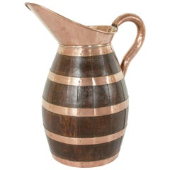 19th Century French Artisan Made Copper and Oak Calvados or Cider Pitcher