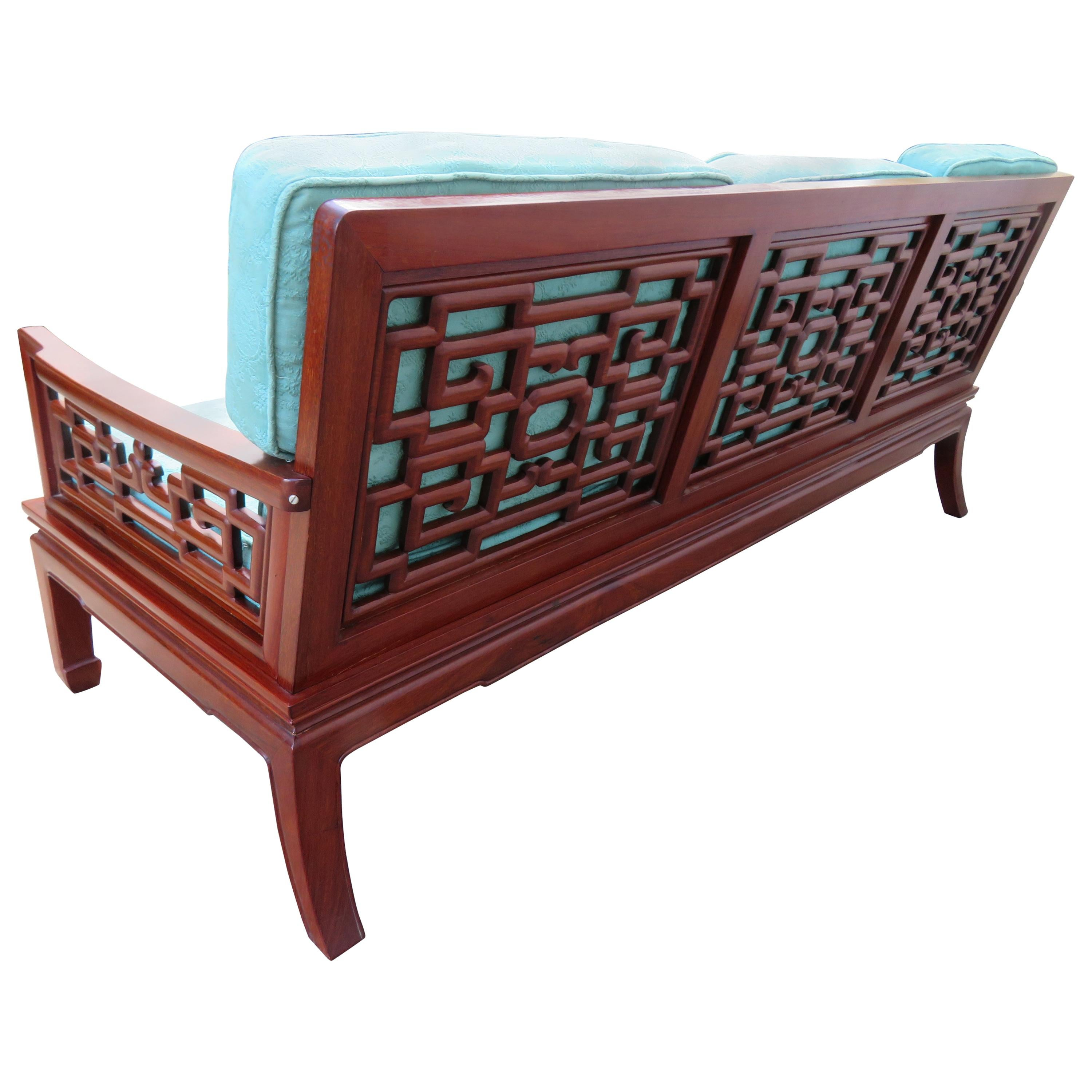 Exquisite Chinoiserie Ming Style Carved Rosewood Sofa Asian Modern For Sale