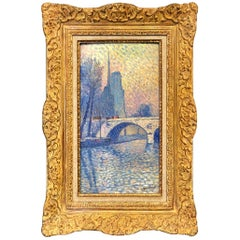 """Notre Dame"" Pointillist Painting by Lucien Neuquelman"