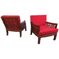 Exquisite Pair of Chinoiserie Ming Style Carved Rosewood Chairs Asian Modern