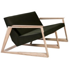 Lasta, Contemporary Two-Seat in Wool with Soap Oak Frame